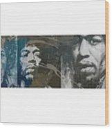 Jimi Hendrix Triptych Wood Print