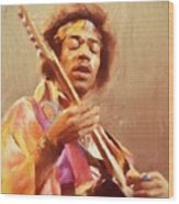 Jimi Jamming Wood Print