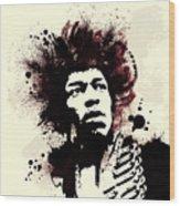 Jimi Wood Print by Laurence Adamson
