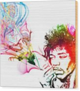 Jimmi Hendrix Wood Print by The DigArtisT