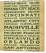 Jimmy Buffett Margaritaville Locations Black Font On Yellow Brown Texture Wood Print