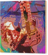 Jimmy Page Stairway To Heaven Wood Print by David Lloyd Glover