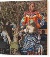 Jingle Dress Dancer At Star Feather Pow-wow Wood Print