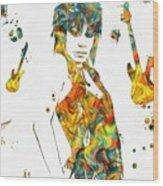 Joan Jett Colorful Paint Splatter Wood Print