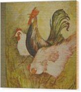Joanna'sthree Chickens Wood Print