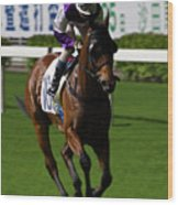 Jockey In Purple And White Riding Racehorse Wood Print