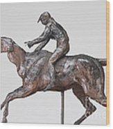 Jockey With Cap Wood Print