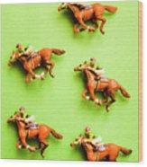 Jockeys And Horses Wood Print