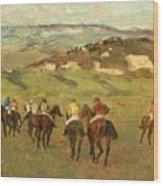 Jockeys On Horseback Before Distant Hills Wood Print by Edgar Degas