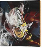 Joe Bonamassa Blue Guitarist Wood Print
