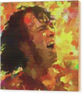 Joe Cocker Colorful Palette Knife Wood Print
