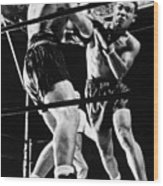 Joe Louis Delivers Knockout Punch Wood Print