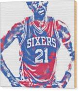 Joel Embiid Philadelphia Sixers Pixel Art 10 Wood Print