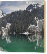 Joffre Lake Middle Panorama B.c Canada Wood Print