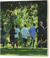 Joggers In The Park Wood Print by Susan Savad