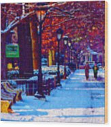 Jogging In The Snow Along Boathouse Row Wood Print