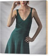 Johanne In Green Wood Print