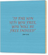 John 8 36 If The Son Sets You Free, You Will Be Free Indeed A Bible Verse Scripture Of Faith And Sal Wood Print