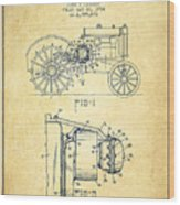 John Deere Tractor Patent Drawing From 1934 - Vintage Wood Print