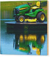John Deere Mows The Water No 1 Wood Print