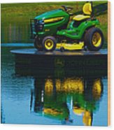 John Deere Mows The Water No 2 Wood Print