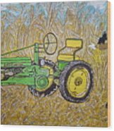 John Deere Tractor And The Scarecrow Wood Print