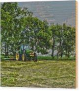 John Deere Tractor At Dusk Wood Print