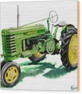 John Deere Tractor Wood Print