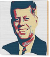 John F Kennedy Color Pop Art Wood Print