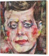 John F. Kennedy - Watercolor Portrait.3 Wood Print