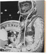 John Glenn Wearing A Space Suit Wood Print