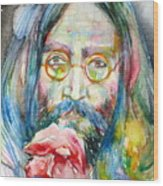 John Lennon - Watercolor Portrait.9 Wood Print