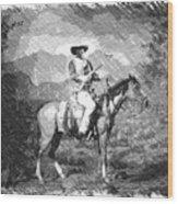 John Wayne At The Ready On Horseback Pa 01 Wood Print