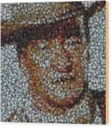 John Wayne Bottle Cap Mosaic Wood Print