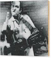 Johnny Cash Rebel Vertical Wood Print