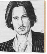 Johnny Depp Portrait Wood Print