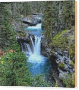 Johnston Canyon Falls Hike Lower Falls Wood Print