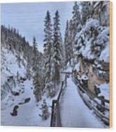 Johnston Canyon Winter Boardwalk Wood Print