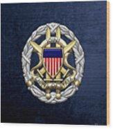 Joint Chiefs Of Staff - J C S Identification Badge On Blue Velvet Wood Print