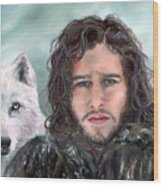 Jon Snow And Ghost Wood Print