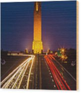 Jones Beach Pencil Light Trails Wood Print