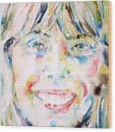 Joni Mitchell - Watercolor Portrait Wood Print