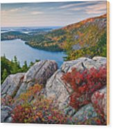 Jordan Pond Sunrise  Wood Print