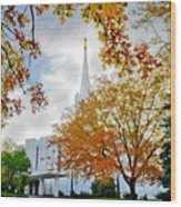 Jordan River Temple Wood Print by La Rae  Roberts