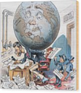 Joseph Pulitzer Cartoon Wood Print
