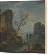 Joseph Vernet   A River With Fishermen Wood Print