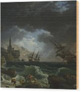 Joseph Vernet   A Shipwreck In Stormy Seas Wood Print