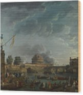 Joseph Vernet   A Sporting Contest On The Tiber At Rome Wood Print