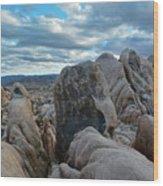 Joshua Tree Boulder Sky Wood Print