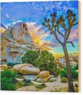 Joshua Tree Magic Hour Hdr Wood Print